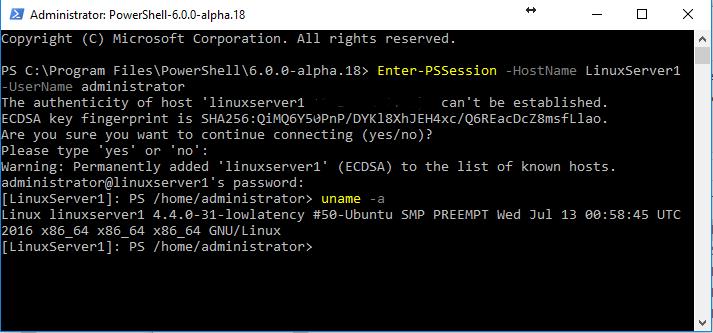 Windows10ToLinuxUbutuPSSession